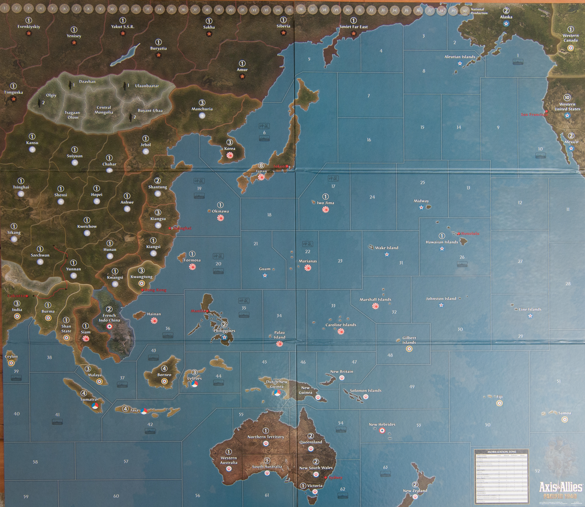 Axis And Allies Pacific Map Map for Axis & Allies Pacific 1940 Second Edition | Axis & Allies .org