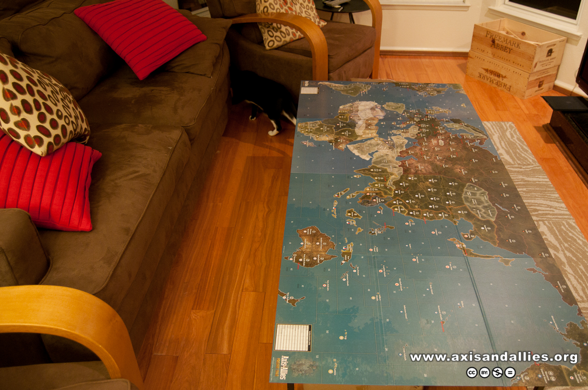 Axis & Allies Europe and Pacific global map coffee table 2872